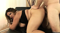 Fat Latina has big knockers and he squeezes them as he fucks her