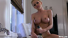 The busty blonde pleases her pussy anyway she can and her body trembles with delight