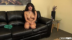 Annie Cruz finishes her masturbation show and stays for a chat