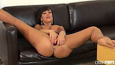 Busty and fit brunette cougar goes at her cunt with both hands