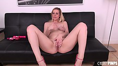 Fascinating blonde with nice tits and a cute ass Tara Lynn Foxx loves sex toys
