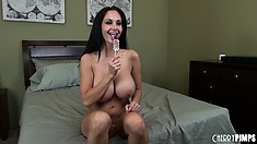Marvelous star Ava Addams masturbates before getting fucked by hungry male