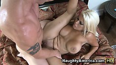 Hot blonde bombshell with massive tits gets pounded balls deep