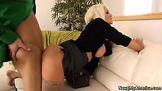 Sexy platinum blonde babe gets her man into mood with a footjob