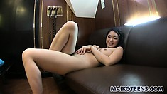 Mina gets her pussy teased then cums from the vibrator on her clit