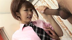Naughty asian schoolgirl gets a load of jizz in her pretty mouth