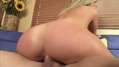 Carmen rides his cock so he can suck on her tits and slap her ass