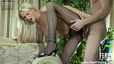 Horny European, Harry, hammers Dolly's delicious derriere from behind