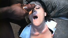 Chubby white maid gets blasted in the face after being banged