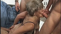 She takes those cocks, one and all in her mouth and cobweb filled cunt