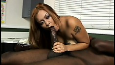 Marvelous Asian chick in fishnet stockings teases and pleases a huge black cock