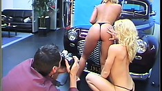 Hot blonde voluptuous models love to play with cars and cocks
