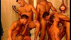 Handsome studs pound each other full of hard man meat in a harem