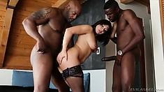 Dark-haired bimbo loves to suck on bulging hard black man meat
