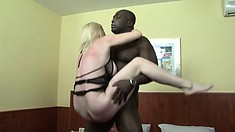 Stacked milf Monik prepares her tight ass to receive the black stud's huge cock