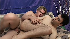 Horny blonde guy jerks his meat as he dildos his lover's gay ass
