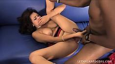 Sweet brunette Mali Luna loves to have a huge black dick filling her tight pussy