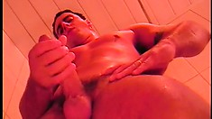 Hot boy with a ripped body Ricco Dkados pleases himself in the shower