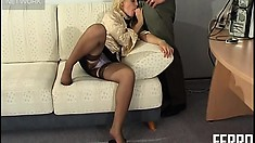 Blonde secretary Ira gets the boss, Peter A worked up with her stockinged feet
