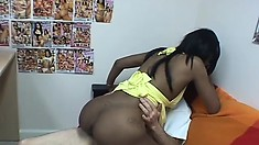 Nubile black babe gets her tight snatch pounded by a white cock