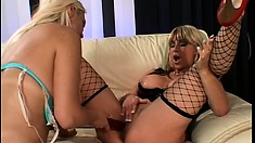 Two hungry lesbian bitches feast on their soaking wet snatches