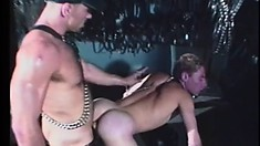 Big daddy bends his wee gay slave over and fucks him in the ass