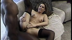Cum-drinking slut is desperate to suck a black dude's manhood
