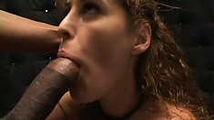 Sex-starved housewife chokes on an enormous black beaver basher