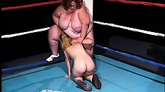 Chubby females are fucking each other on boxing ring and cum hard