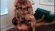 Hot army sergeant breaks in a new recruit with head, ass action and a cumshot
