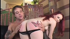 Tall milky-skinned red-haired ginch gets ass spanked and pussy fucked