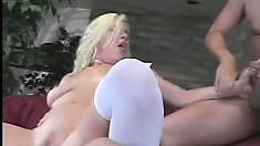 Blond slut enjoying one last double penetration before wedding
