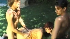 Alyssa Alure is getting her hairy beaver banged by huge wangs