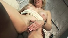 Blonde boss uses her white couch to get fucked by his big black cock