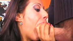 Busty brunette in black stockings gets fucked hard on the pool table