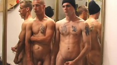 Straight guys drop their clothes and jerk off in front of the mirror