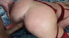 Big booty blonde babe in red lingerie gets spanked and fucked