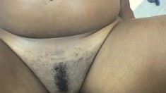 Two voluptuous black babes get their twats fucked hard by a white guy