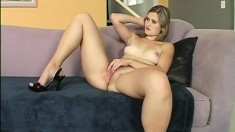 Curvy blonde babe Marina Maywood enjoys herself with a big dick