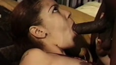 Lovely caramel girl gets her twat eaten out and fucked by a black stud