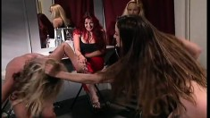 Busty bitches are going at it in a cat fight and the blonde gets fucked up