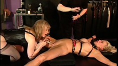 Blonde slave gets her cunt pumped, whipped, eats pussy and gets toyed roughly