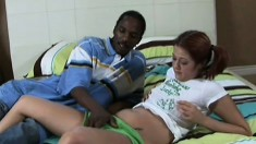 Pretty girl with pigtails has a hung black dude stretching her pussy