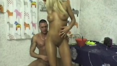Adrianna gives into temptation and rides a horny dude in the kitchen