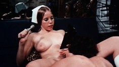 Hot babe Linda Lovelace puts on display her fabulous blowjob abilities
