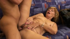Lustful mature lady Susan has a young stud satisfying her sexual urges