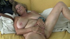 Chubby granny Isabel and her big tits work her fingers on her cunny