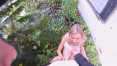 Naughty blonde has a go at fucking a horny dude in the bushes