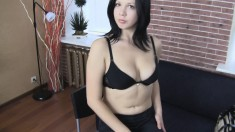 Naughty brunette bends over and gets a massive fuck stick in the ass