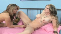 Natalia Rossi brings her hot lesbians fantasies to fruition on the bed